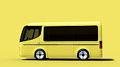 yellow electric self-driving taxi van for branding