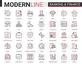 Finance and banking flat thin red black line icons vector illustration set, creative website financial outline symbols of digital bank