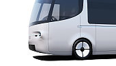 silver electric self-driving van for branding