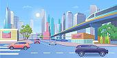 Subway city train vector illustration, cartoon 3d urban panoramic cityscape with modern skyscraper buildings, public metro train on railway bridge