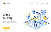 Drone delivery landing page, man ordering, using fast logistic delivering service