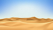Realistic desert landscape isolated on checkered background