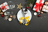 table setting for christmas or new year holiday top view. Mirimalism, place for text