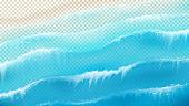 Top view on foamy sea waves