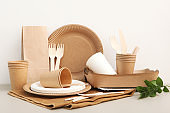 Eco paper utensils on the table.