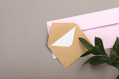 Paper color envelope for letters on a colored background in the air