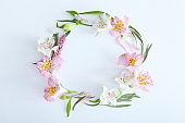 Beautiful floral arrangement with a place to insert text top view.