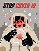 Fight with Coronavirus concept. Illustration of a doctor fighting with covid-19 corona virus. Disease campaign poster