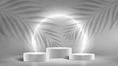 Abstract neon banner with podiums
