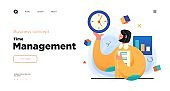 Time management, organizing tasks website concept template design. Web page layout with modern business concept illustration.