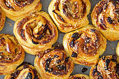 Puff pastry sweet roll buns freshly baked