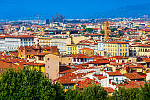 Aerial view of Florence, Italy and Boboli gardens