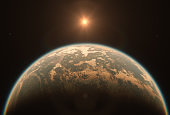 Alien Earth Like Exoplanet with Moons Orbiting Star in Space - Horizon Sunrise of Alien Landscape