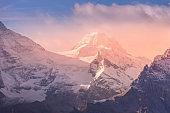 Panoramic view of Swiss Alps sunrise, Switzerland