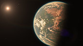 Alien Earth Like Exoplanet with Moons Orbiting Star in Space