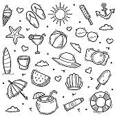 Summer doodle line art style hand drawn vector illustration
