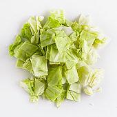 cutted piece, cutting board, whole head, sliced fresh, shredded cabbage