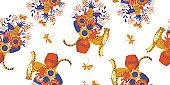 Seamless pattern on a white background. Cheetah and flowers.