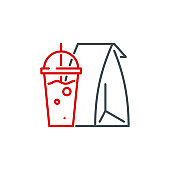 mobile app icon set food in a paper bag and a drink in a cup isolated on white. outline app icon symbol paper bag, cup with coffee, soda or cocktail. fast food Quality element with editable Stroke