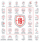 Prevention line icons set isolated on white. outline symbols Coronavirus Covid 19 pandemic banner. Quality design elements mask, gloves, distance, wash disinfect hands, stay home with editable Stroke