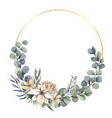 Watercolor hand painted wreath with beige, pink flowers and green leaves.Watercolor floral illustration with branches - for wedding invite, stationary, greetings, wallpapers, background