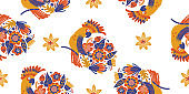 Seamless pattern on a white background. Parrot and bright flowers.