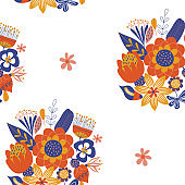 Seamless pattern on a white background. Bright bouquets of flowers in the Scandinavian style.