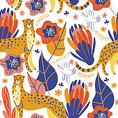 Seamless pattern on a white background. Wild cheetahs among the flowers. Vector illustration.
