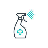 antiseptic spray bottle single line icon isolated on white. Perfect outline symbol cleaner Coronavirus Covid 19 pandemic banner. Quality design element antibacterial sanitizer with editable Stroke