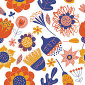 Seamless pattern with bright minimalistic flowers. Vector illustration on a white background.