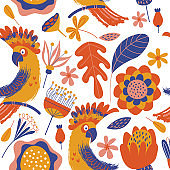 Exotic seamless pattern. Cockatoo parrots and bright tropical flowers on a white background. Vector illustration.