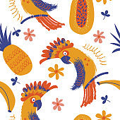 Exotic seamless pattern. Cockatoo parrots and bright tropical flowers and fruits. Vector illustration.