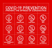 Prevention Covid19 line icon set red paper background. outline symbols Coronavirus Covid 19 pandemic banner. Quality design elements mask, gloves, distance, wash disinfect hands, stay home line icons