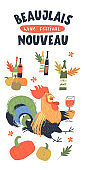 Beaujolais Nouveau, French wine festival. A cheerful bright colorful rooster with a glass of red wine. Vector illustration.