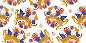 Seamless pattern. Cheetah among colorful flowers . Vector illustration.
