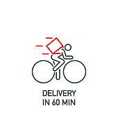 Online delivery courier on bicycle service single line icon isolated on white background. Perfect outline symbol bike food delivery banner. Quality design element information bike with editable Stroke