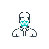 head man in medical mask single line icon isolated on white. Perfect outline symbol Coronavirus Covid 19 disease prevention pandemic banner. Quality design element quarantine with editable Stroke