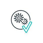 Coronavirus Covid19 disease pandemic single line icon isolated on white background. Perfect outline symbol illness virus banner. Quality design element medicine vaccine pneumonia with editable Stroke.