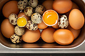 Fresh chicken and quail eggs in a tin tray. Still life. View from above. Food photography for the interior, top view