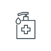 sanitizer dispenser with antiseptic drop gel single line icon isolated on white. Perfect outline antibacterial bottle symbol Coronavirus Covid 19 pandemic banner. Quality element with editable Stroke