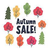 Autumn seasonal sale. Vector illustration.
