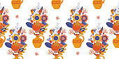 Seamless pattern on a white background. Yellow vase with a bouquet of flowers .