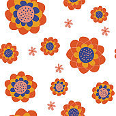 Seamless floral pattern on a white background. Vector illustration.