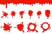 Blood splash flowing spill dripping splatter seamless liquid cartoon design vector illustration