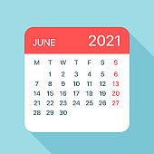 June 2021 Calendar Leaf - Vector Illustration