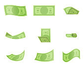 Isolated on white money twist fold bend banknote design vector illustration
