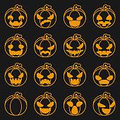 Pumpkin icons set halloween decoration scary faces smile emoji lineart design vector illustration
