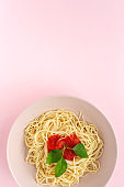 Homemade Spaghetti with tomato and basil sauce