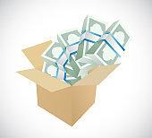 Box full of money illustration design