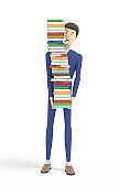 Man is holding tall ream of various books. Isolated on white background. 3d illustration